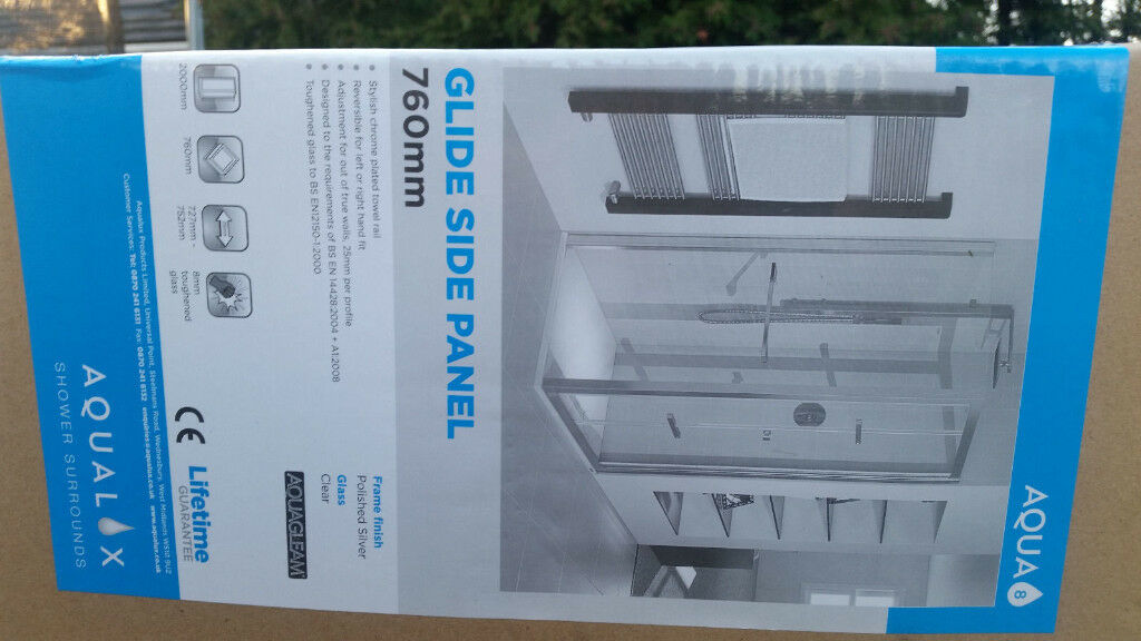 Brand New Aqualux Aqua 8 Glide Glass Side Panel 760mm