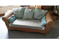 FREE - Woven Cane 3 Seater Settee with Aqua Green Cushions.