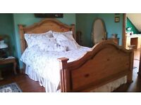 REDUCED FOR QUICK SALE..BEAUTIFUL SOLID WOOD DOUBLE BED..FREE MATTRESS.OTHER MATCHING ITEMS.SEE PICS