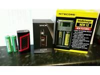 E cig Vape vapor Smok alien 220w mod with batteries and charger