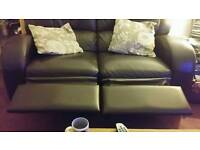 Leather 2 seater & armchair recliners