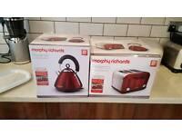 Red Morphy Richards Toaster & Kettle Set