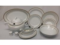 45PC PORCELAIN DINNER SET, WHITE WITH GOLD TRIM