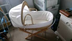 As good as new moses basket and fold away stand