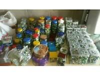 Multiple jars full of marbles for sale