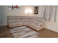 Ex-display Cupola cream saddle fabric manual recliner corner sofa