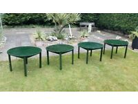 4 WOODEN GREEN CIRCULAR PARKER KNOLL TABLES IDEAL FOR INSIDE OR OUT