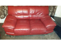 3+2 SEAT RED LEATHER SOFA SET WITH STEEL BASE LEGS £130.00 ONO