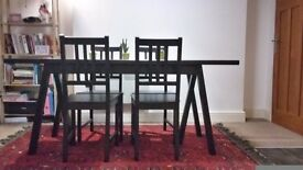 Table and 4 chairs IKEA: RYGGESTAD/GREBBESTAD/STEFAN Black/brown-black