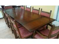 Old Charm Dining Table with 10 Chairs with corner display unit