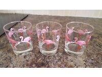 set of 3 flamingo glasses