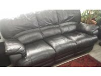 Three Piece used Black Leather Suite for sale.
