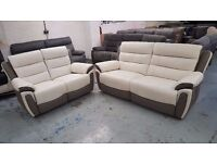 New ScS Fiesta White & Grey Leather 3 & 2 Seater Electric Recliner Sofas Can/Del View Collect NG177