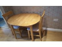 SOLID WOOD TABLE & 2 CHAIRS