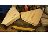 2 solid timber corner shelves