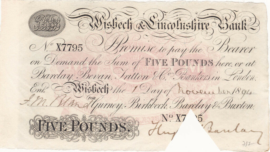 1894 bank note Wisbech & Lincolnshire £5 banknote in immaculate condition