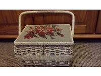 Embroidered wicker sewing basket