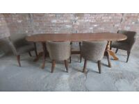 Extra large oak dining table and four chairs