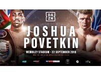 2 x Tickets for Joshua vs Povetkin FLOOR SEATS ROW G!!!