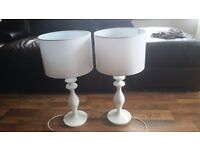 Table Lamp Lamps Pair White Gloss