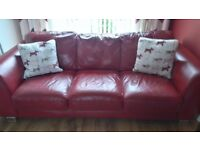 2x3 seater red leather sofas