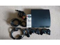 PS3 Slim 120gb, controllers & games