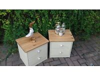 2 pine shabby chic bedside tables