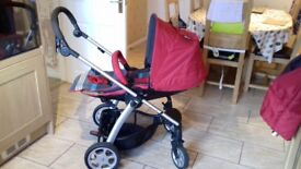 Mamas and papas Sola pram/travel system with Aton car seat and Cybex Aton base