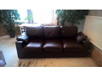 Brown Leather Sofa - Large Three Seater