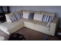 Cream Leather Corner Sofa with matching Armchair