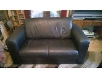 Black leather two seater for collection