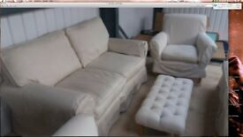 Laura Ashley Cream Kendal Sofa with loose covers