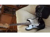 Electric Guitar and Amp, Acoustic Solutions Stratocaster and Squier SP10 Amplifier