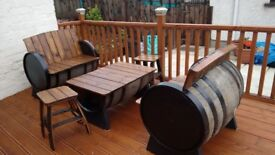 Oak whiskey barrel garden furniture for the garden patio bar pub
