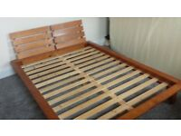 Pine double bed - nice design good condition £20 ono