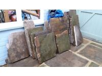 York stone slabs, various shapes and sizes, approx 6 square metres