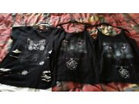 3 x Ladies tops - bright eyes cat - NEW - Size Medium - Chatham