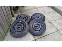"Volkswagon 14"" steel wheels and firestone tyres 165/70"