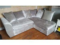 Silver vekvet sofa like new £400