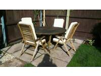 Garden table and 4 recliner chairs
