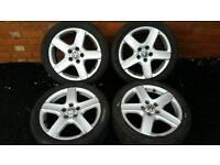 "17"" VW Alloy Wheels And Tyres Touran Caddy Golf Passat"