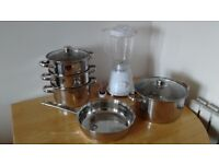 Pot, frying pan, and juicer sold together (£15)
