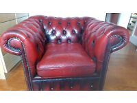 Red chesterfield armchair - very comfortable