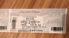 1 x Royal Blood standing ticket London - Wednesday 22nd November