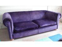 Luxury, velvet, handmade sofas x 2, bought as a pair from sofa magic , Bristol.