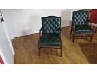 """Green Leather Chesterfield Arm Chairs """"Used"""""""