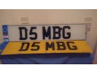 For Sale. Private Number Plate. (on retention certificate) D5 MBG