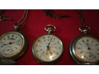 Constantinople And Longines / Pocket Watches X3 / Wind Up / Silver / also zenith omega ingersoll