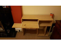 Birch effect computer desk unit with keyboard and mouse drawer