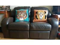 Brown Leather Recliner 3 & 2 Seater Sofa